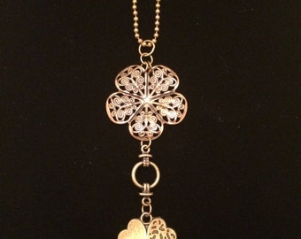 Bronze-toned Filigree Flower and Clover Rearview Mirror Charm