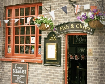 London Photography, Fish and Chips, London Pub, British Decor, Kitchen Decor, Union Jack Flag, Travel Photo, red, brown, Wall Art