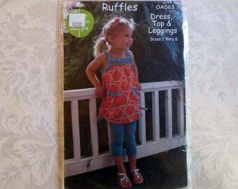 Girls Ruffles Dress, Top & Crop Leggings Uncut Pattern, Olive Ann Designs OAD63, Size 1, 2, 3, 4, 5, 6