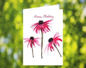 Chrysanthemum Birthday Card Download: Watercolor Red Chrysanthemum Birthday Card - Digital Download - Downloadable Card - Birthday Card Mom
