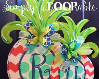 Simply aDOORable Large Pineapple Wood Door Hanger!  Door Decoration, Summer Door Decor