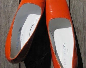 Vintage Patent Leather Shoes Made in Italy Size 37; Vintage Orange Shoes; Women Shoes; Stylish Jane Shilton Shoes