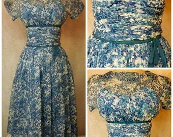 50s Periwinke Blue Rockabilly Swing Party Dress Size 12 New Look Era