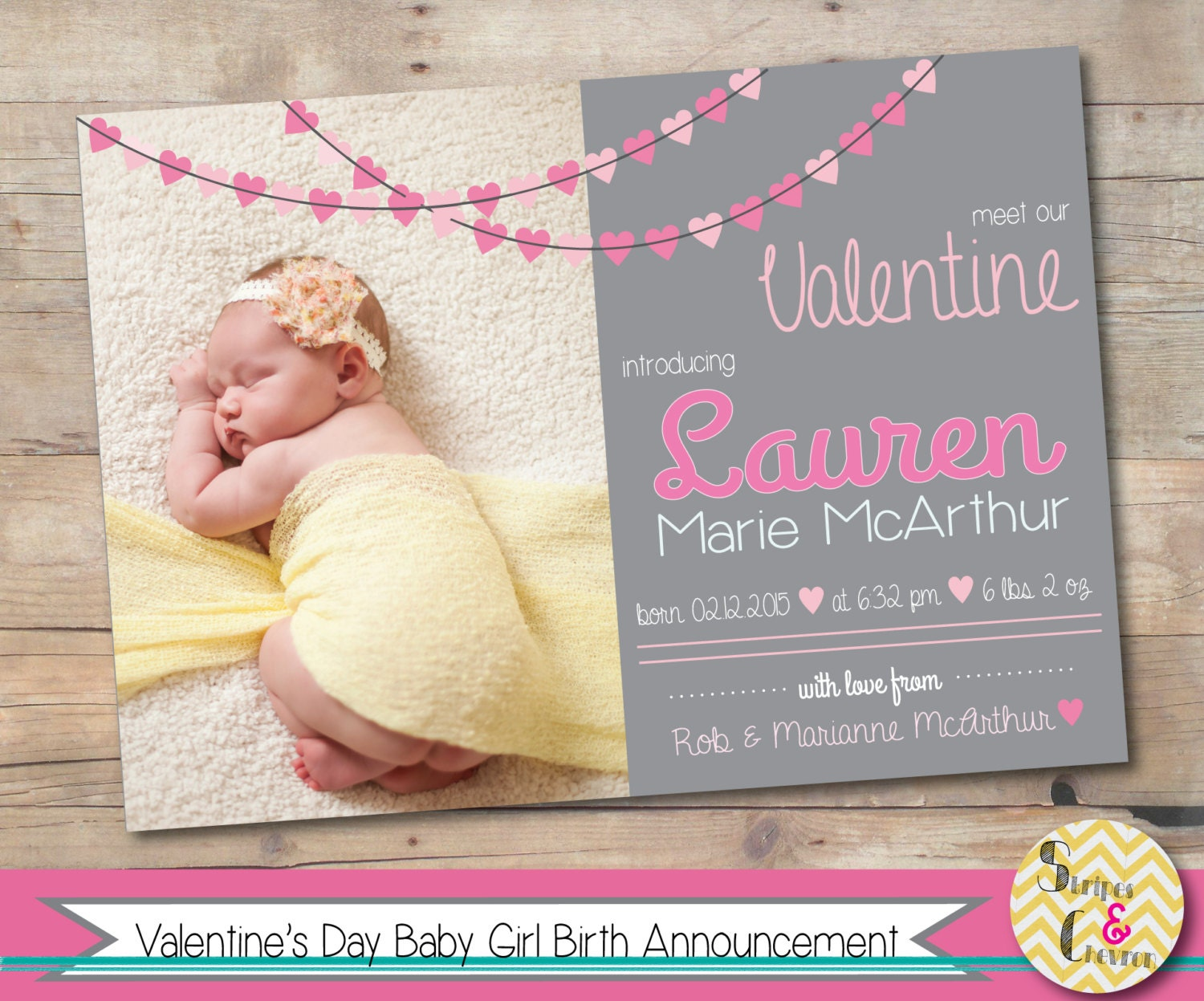 Valentines day birth announcement Printable valentines baby – Baby Birth Invitation Card