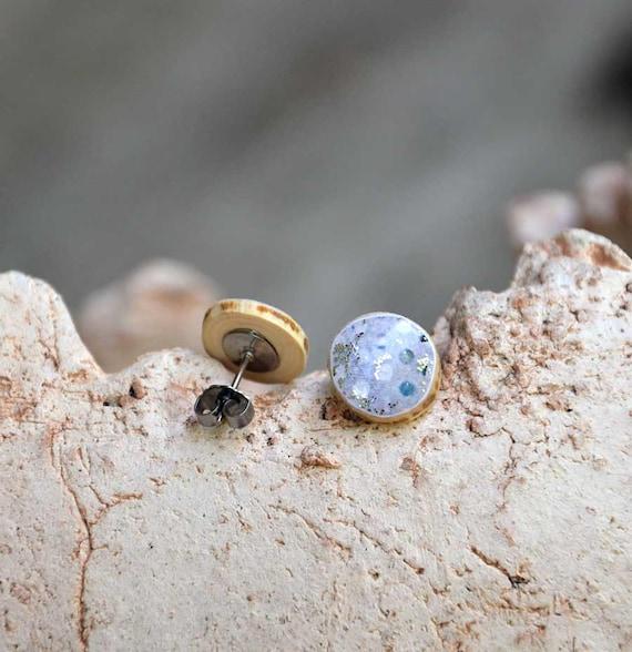 sky blue unique wooden ear stud earrings steel posts resin toped ...