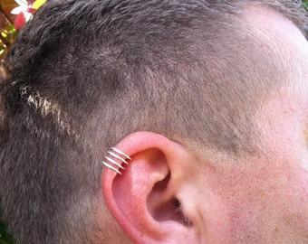 925 silver cartilage ear cuff , Fake Cartilage Earrings, Fake Piercing, sterling silver mens cuff rings on sale, men silver piercing
