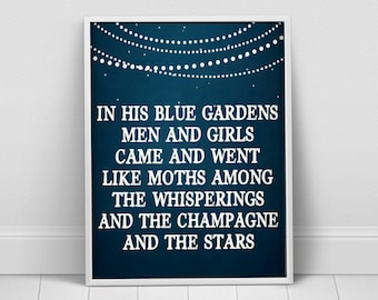 F. Scott Fitzgerald Quote Print, Great Gatsby, Literary Art, Typography Poster, Blue Garden, Champagne Quote, Book Lover Gift, For Her