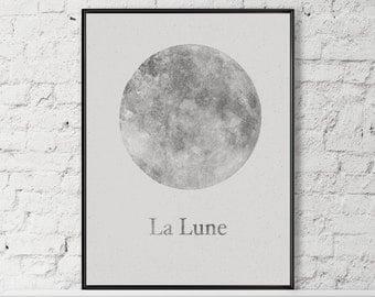 Moon Poster - Large Moon Print - Moon Art Print - Moon Art - Moon Print - Full Moon - Art Print - Large Moon Print - Celestial - La Lune