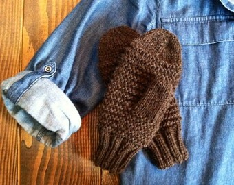 15% OFF! Women's Hand Knit Warm Black Mittens