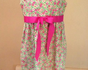 Green and Pink Floral Dress with Bolero