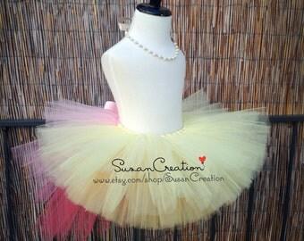 Fluttershy tutu Skirt, My little pony tutu skirt, Inspired. Halloween, Birthday dress, Fluttershy, Pink Ombre bustle, Yellow tutu