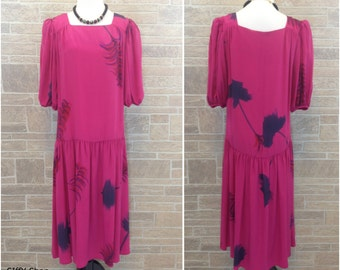 Hot pink hand painted silk dress - medium