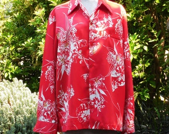 Vintage 1970s/80s Hawaiian long sleeve polyester shirt Tori Richard Honolulu size large red white floral