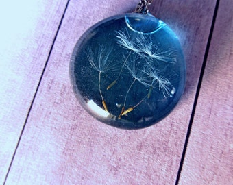 Resin necklace wish gift, dandelions in resin air jewelry Transparent Blue pendant Dandelion magic necklace, Her dream jewelry