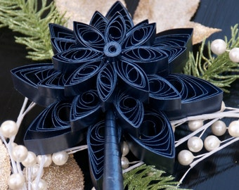 Quilled Christmas Tree Topper Shimmery Metallic Blue - Retro 1950's Style Paper Star Tree Topper - Extra Large Christmas Ornament Snowflake