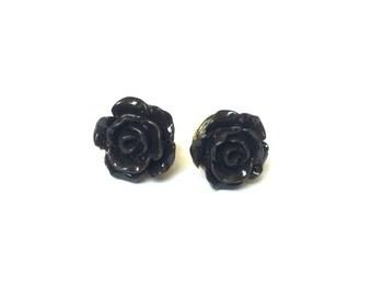 Rose Earring Studs - Black Rose Earrings - Black Rose Stud Earrings - Black Flower Earrings - Gold Jewelry