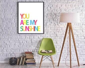 You Are My Sunshine Print Bright Rainbow Nursery Decor Kids Room Wall Art Boys Girl Nursery Prints Modern Kids Room Lyrics Kids Song rainbow