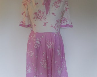 Vintage French dress 80s does 50s by R Attak of Paris pink floral cotton shirt waister dress size medium