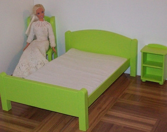 """Lime green Queen size doll bed with mattress cover choice/ 1:6 scale bed / playscale bed/ 12"""" doll bed/ doll furniture/ 1 6 scale furniture"""