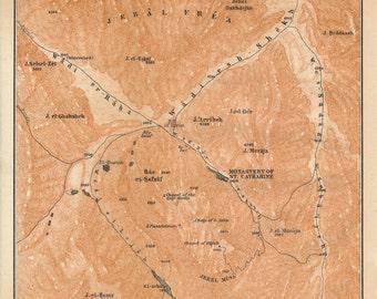 1912 Monastery of Mount Sinai Egypt Antique Map