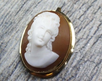 Vintage Cameo Pin Cameo Pin Shell Cameo Pin 18k Gold Cameo Brooch Cameo Pendant Yellow Gold Pin