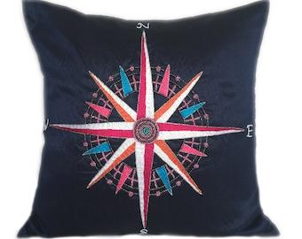 Sea Compass Pillow Nautical Home Decor Blue Nautical Pillow Compass Pillow Coastal Compass Pillow Navy Blue Compass Pillow Beach Décor