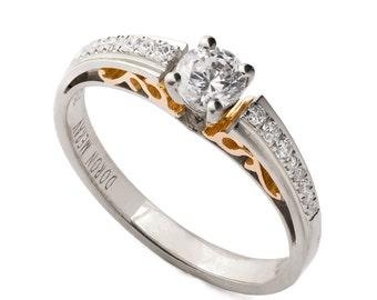 Two Tone Edwardian Engagement Ring - 18K Gold and Diamonds engagement ring, unique engagement ring, wedding band, art deco, edwardian,