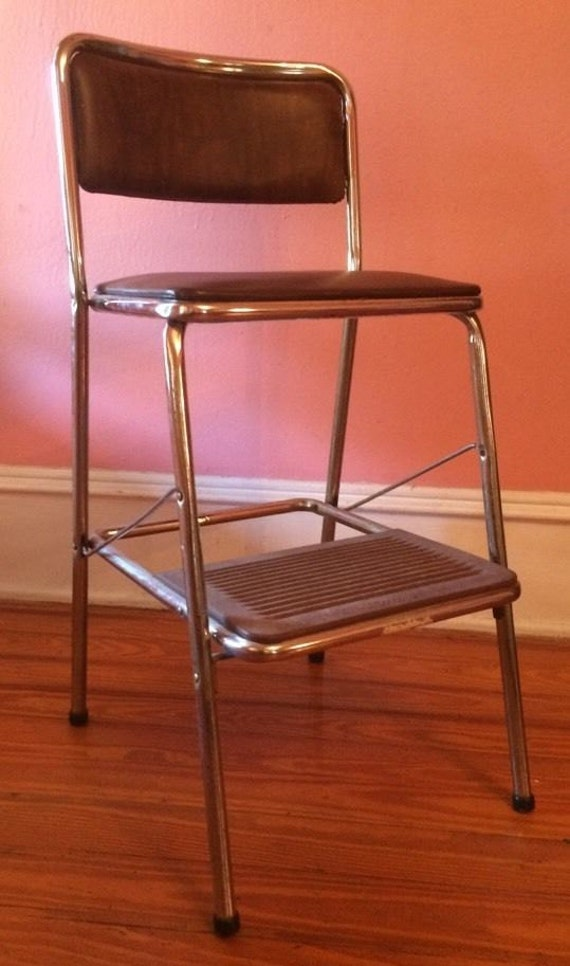Vtg Folding Step Stool Portable Brown By Antiquesviaayala