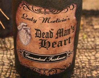 "Halloween Potion Bottle, ""Lady Morticia's Dead Man's Heart"", Large Potion Bottle, Halloween Decor, Halloween Prop, Halloween Display, Potion"