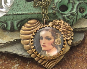 1920s Style Heart Necklace Hollywood Regency, Vintage Style Jewelry Heart Necklace Vintage Style Jewelry Large Heart Pendant