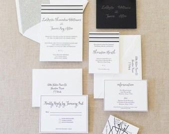 Letterpress, Formal Black and White, Elegant Wedding Invitation Suite with Silver Glitter Envelope Liner SAMPLE