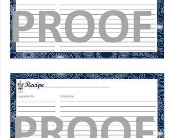 Navy Blue and Gray Recipe Card