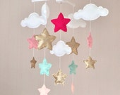 Baby mobile - Baby girl mobile - Cot mobile - Star mobile - Cloud Mobile - Gold, pale mint green, pale coral and bright pink