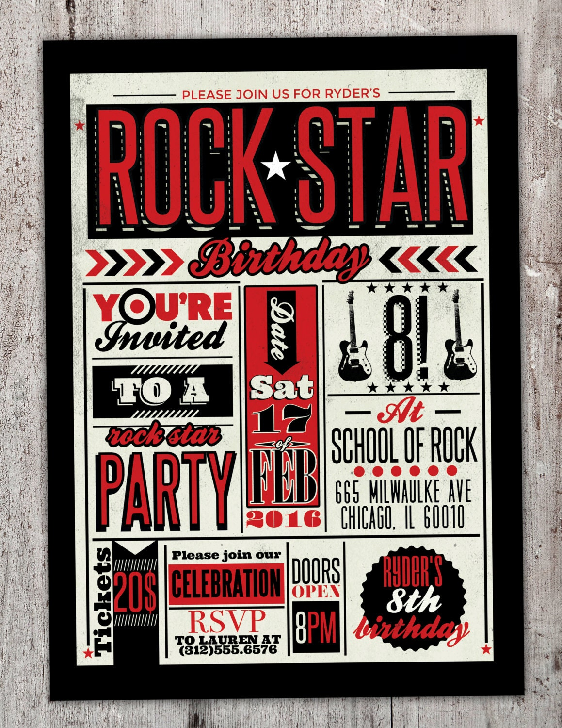 Rock Star gig poster theme birthday invitation, boy birthday ...