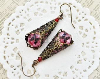 Pink Flower Earrings – Butterfly Teardrop Earrings, Boho Earrings, Nature Jewelry, Filigree Earrings, Dangle Earrings, Romantic Jewelry
