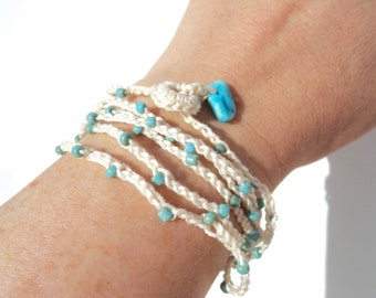 Summer Crocheted Wrap Bracelet with Beads