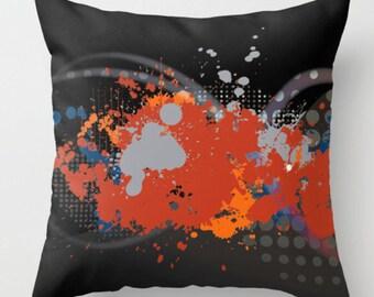 Abstract Throw Pillow, Modern Couch Cushion, Throw Pillow, Decorative Pillow, Abstract Sofa Pillow, Paint Splatter Cushion, Disco Cushion