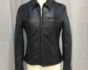 Women's Black Leather Motorcycle Riding Jacket