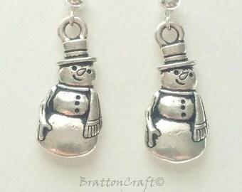 Snowman Earrings - Snowman Jewelry - Christmas Earrings - Christmas Jewelry - Holiday Jewelry - Holiday Earrings
