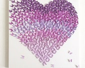 Lavender Butterfly Heart Color Gradient Wall Home Nursery Decor Baby Girls Boys Room Decor Wedding Anniversary Holiday Mothers Day Gifts