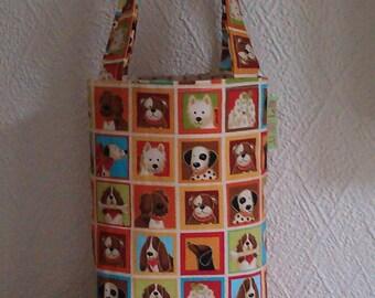 SALE - Bag, Small Bag, Dog Mosaic Small Bag, Dog Walking Bag, Little Girls Bag, Little Bag, Cotton Print Bag, Dogs, Puppies, Poo Bag Carrier