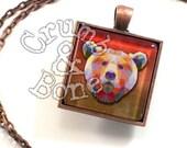 Grizzly Bear Necklace, Bear Keychain, Bear Gifts, Animal Jewelry, Grizzly Bear Art, Ursus arctos horribilis, Woodland Animals, Bear Jewelry