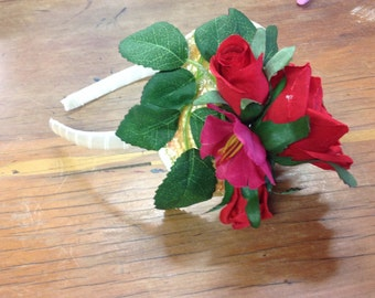 Red and pink rose headband fascinator
