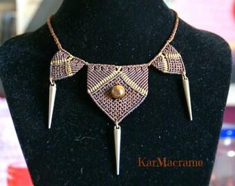 Tiger eye macrame necklace\handmade\micromacrame