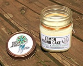 Lemon Pound Cake Soy Candle, Vegan Candle, Hand Poured Soy Candle, Scented Candle, Gift wrapped White Jar Candle, Feather Charm Decoration