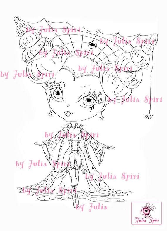 Digital Stamps, Scrapbooking printable, Digi stamp, Witch stamps, Goth fantasy, Adult coloring, Coloring pages,  Line art. Gothic Witch