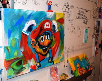 Another Castle! by Cole Brenner a Mario tribute for classic nintendo fans, old-school, Gamer Art, Gameroom Decor, Man Cave, New Mario