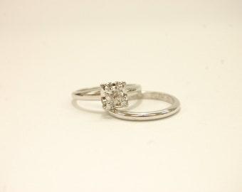 14k White Gold  .35ct Round Diamond Vintage Wedding Ring Set