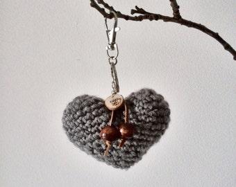 Keychain heart - bag charm crochet heart with wooden beads - amigurumi heart key chain