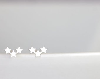 3 star stud earrings, super tiny star studs, petite star
